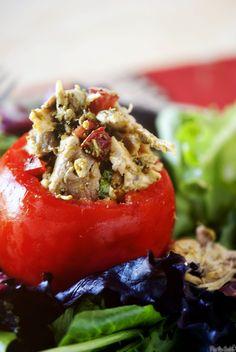 Pesto-Chicken Salad Stuffed Tomatoes :)