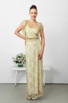 Amazing wedding lace dress Gold and white by elbling on Etsy, $250.00