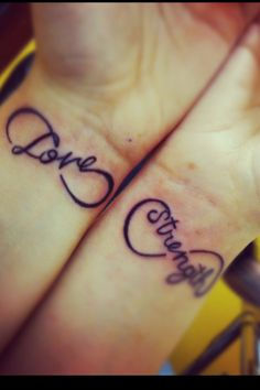 """Love strength"" wrist tattoo"