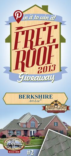 Re-pin this gorgeous Art-Loc Berkshire Shingle for your chance to win in the Sherriff-Goslin Pin It To Win It FREE ROOF Giveaway. Available in Sherriff-Goslin service area only. Re-pin weekly for more chances to win! | Stay Updated! Click the following link to receive contest updates. http://www.sherriffgoslin.com/repin Learn More about this shingle here: http://www.sherriffgoslin.com/tabbed.php?section_url=140