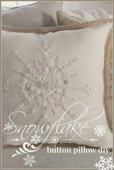 CUTE!!! No-sew button snowflake pillow