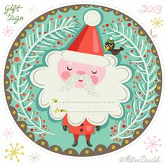 Free printable Santa gift tags.
