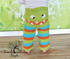 Crochet Baby Monster Pants 0 - 12 Months