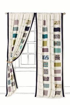 Awesome curtains. books, curtains, swatch book, anthropologie, diy idea, fabric swatches, sewing rooms, fabric scraps, craft rooms
