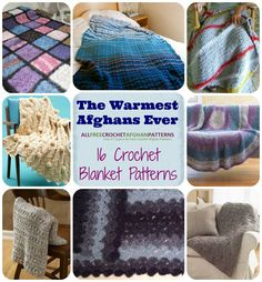 The Warmest Afghans Ever: 16 Crochet Blanket Patterns | Free Crochet Afghans Patterns from AllFreeCrochetAfghanPatterns.com