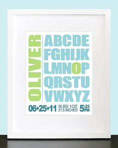 Alphabet ABC Personalized Birth Announcement Wall Art - 8x10 Baby Nursery Children Customized Wall Print Poster, $16.00