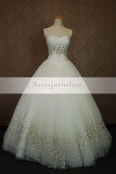 Modern sweetheart ball gown beading tulle wedding dress