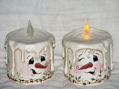 snowman candles | Snowman Resin Candles (Battery Operated)