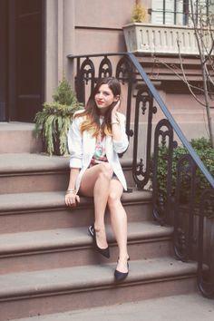 tami bow sling + textured blazer | Emilee Anne