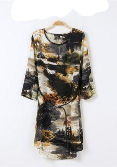 Multicolor Print Belt Seven's Sleeve Loose Chiffon Dress