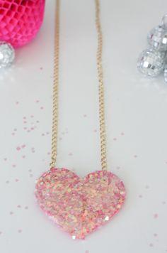 diy disco, ribbon, heart necklac, disco heart