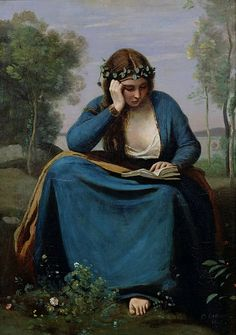 The Reader Crowned with Flowers (or Virgil's Muse) by Jean Baptiste Camille Corot