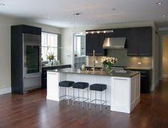 White Island Dark Cabinets Design,