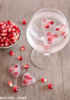 Glass of Pomegranate Heart Ice Cubes