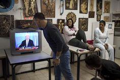 Israelis watch Israeli PM Benjamin Netanyahu on TV in a bomb shelter on November 14, 2012 in Netivot, Israel. I (Uriel Sinai - AFP/Getty Images)