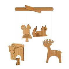 petit collage forest animal bamboo mobile