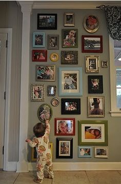 Framed wall, unpainted colored frames
