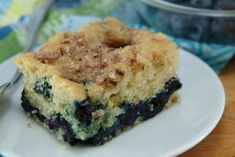 Blueberry-Lemon Coffee Cake: What goes perfectly with your cozy mug of coffee? A gooey sweet slice of this low-fat, lower-calorie skinny blueberry lemon coffee cake.