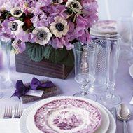 Purple wedding table settings.