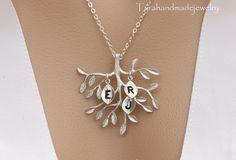 Leaf initial on the treeFamily Tree by tyrahandmadejewelry on Etsy, $26.50