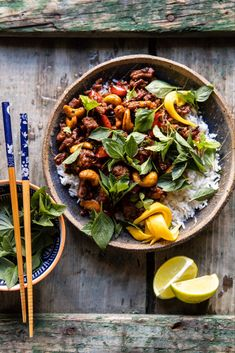 Better Than Takeout Sweet Thai Basil Chicken | halfbakedharvest.com #easyrecipes #20minutes #thaichicken #ricebowl #healthy