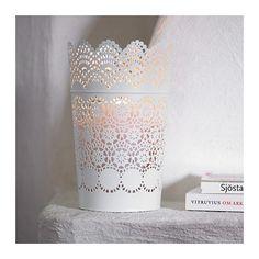 SKURAR Lantern for block candle, white