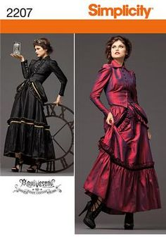 Simplicity pattern 2207: Misses' Steampunk Costume. Victorian-era dress.