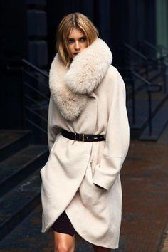 warm winter white jacket, cozy winter, fashion style, furs, fall coats, collars, street styles, leather belts, winter coats