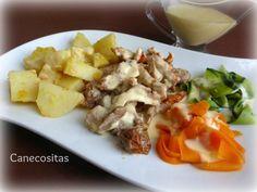 Crema de verduras, pollo al vapor con salsa suprema