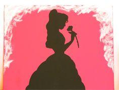 BEAUTY & THE BEAST Silhouette Disney Princess Belle Handmade Painting on 11x14 Canvas Panel via Etsy