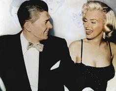 Ronald Reagan and Marilyn Monroe sharing a laugh. marilyn monroe, ronald reagan