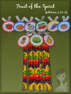 """Fruit of the Spirit""  Runts! Great snack idea :)"