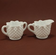 Fenton Star Hobnail Milk Glass Creamer Sugar Vintage