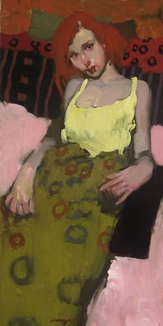 """""""Pillows & Patterns"""" - Milt Kobayashi {contemporary figurative artist redhead female décolletage dressed woman painting}"""