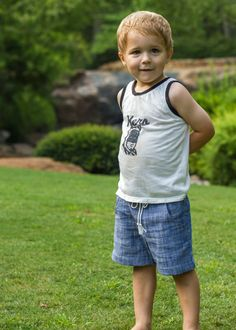 adorable boy outfit - basic tee as tank and beach bum sunny day shorts // oliver's fancy