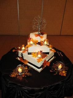 Fall wedding cake with beaded tree cake topper