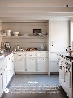 paneled fridge, neutral palette, tongue & groove walls