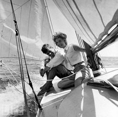 """JFK and Jackie. 1953. There is just something so romantic about sailing that I have thought about forever....  Love the notion of """"being free."""" & the freedom of being...wow, that is deep!"""