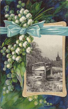 Lily of The Valley Blue Ribbon Bordering Bridge Scene Old Postcard