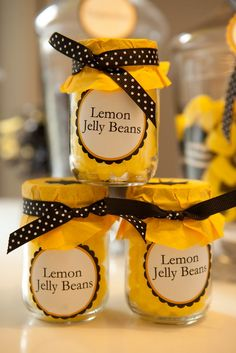 Babee baby shower - lemon jelly bean party favors