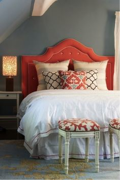 Headboard Ideas | Decorating with Tangerine Tango