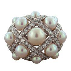CHANEL Matelasse Pearl Diamond Gold Ring