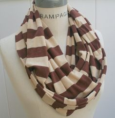 Brown Infinity  Scarf  Cocoa  Tan Eternity  Women Scarves Circle Loop Scarf - By PIYOYO Circles, Etern Scarf, Tans, Infinity Scarfs, Scarf Brown, Fabric Accessori, Scarves, Scarf Addict, Stripe
