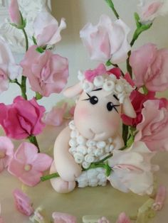 Little sheep and sweet peas