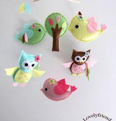 felt hanging, woodland mobil, felt tree, felt birds, felt owls, hang mobil, felt food, felt toy