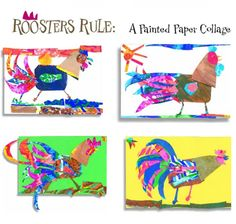 """Roosters Rule: A Painted Paper Collage,"" from our October 2011 issue. rooster rule, paint paper, paper collag"