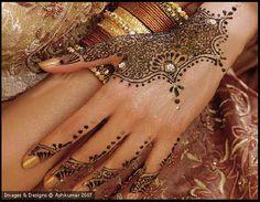 unique gold henna design