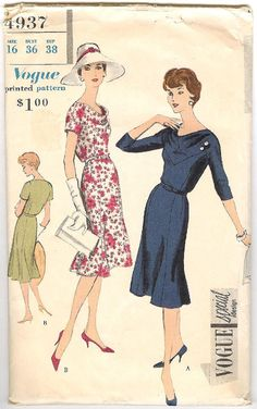 What a lovely cut!  .....make the back bodice blouse out at bottom....50's Vogue Sewing Pattern