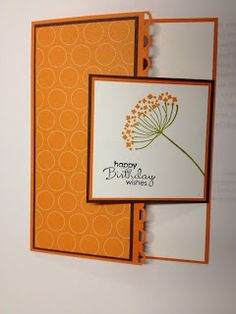 Birthday Card - Love the try fold overlay with the smaller panel - could easily make this card masculine with different edge punch/stamp