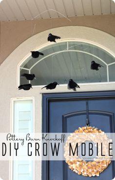 DIY Crow Mobile - Pottery Barn KnockOff - Save over $25! #houseofsmiths #halloweendecor #crows #diyhalloweendecorations halloween decorations, barn knockoff, front door, door colors, halloween crafts, crow mobil, hous, diy crow, pottery barn